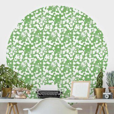 Runde Tapete selbstklebend - Natürliches Muster Pusteblume mit Punkten vor Grün