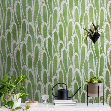 Metallic Tapete  - Natürliches Muster Sukkulenten in Grün