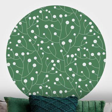 Runde Tapete selbstklebend - Natürliches Muster Wachstum mit Punkten auf Grün