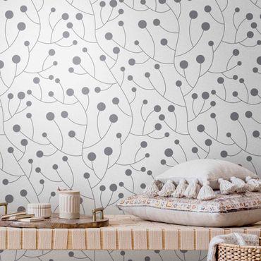 Metallic Tapete  - Natürliches Muster Wachstum mit Punkten Grau