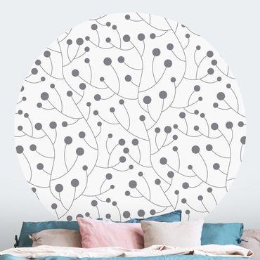 Runde Tapete selbstklebend - Natürliches Muster Wachstum mit Punkten Grau
