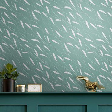 Metallic Tapete  - Natürliches Muster Windhauch auf Blau