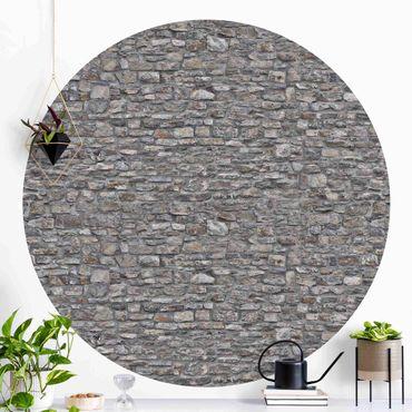 Runde Tapete selbstklebend - Naturstein Tapete Alte Steinmauer