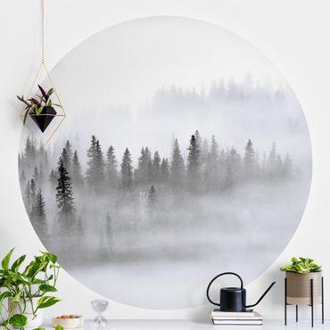 Runde Tapete selbstklebend - Nebel im Tannenwald Schwarz-Weiß