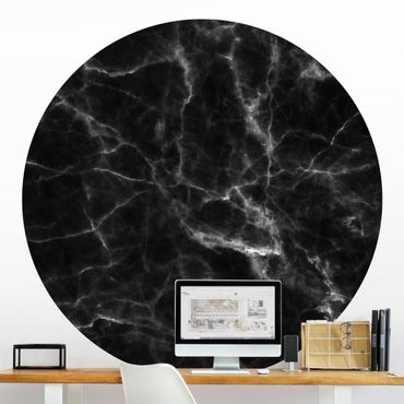 Runde Tapete selbstklebend - Nero Carrara