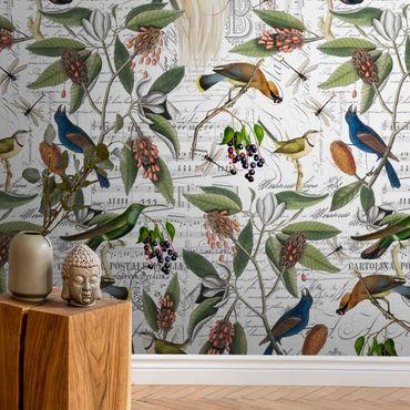 Metallic Tapete  - Nostalgischer Beerenblues mit Paradisvögeln