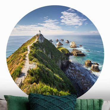 Runde Tapete selbstklebend - Nugget Point Leuchtturm und Meer Neuseeland