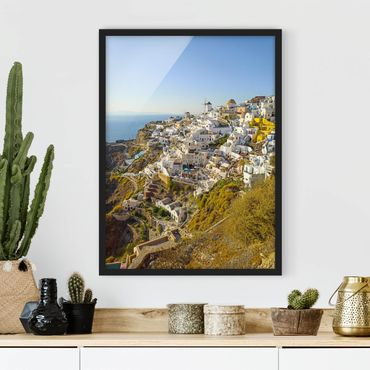 Bild mit Rahmen - Oia auf Santorini - Hochformat