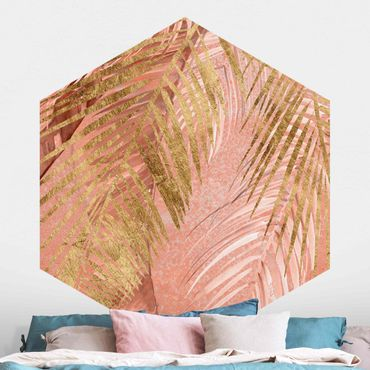 Hexagon Mustertapete selbstklebend - Palmenblätter Rosa und Gold III
