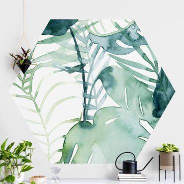 Hexagon Mustertapete selbstklebend - Palmwedel in Wasserfarbe II
