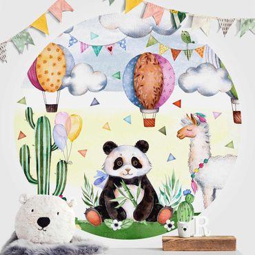 Runde Tapete selbstklebend - Panda und Lama Aquarell
