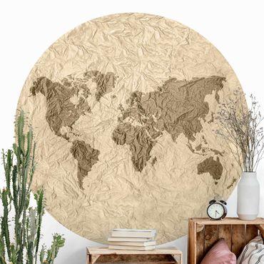 Runde Tapete selbstklebend - Papier Weltkarte Beige Braun
