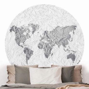 Runde Tapete selbstklebend - Papier Weltkarte Weiß Grau