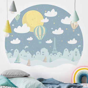 Runde Tapete selbstklebend - Paris mit Sternen und Heißluftballon