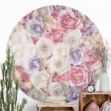 Runde Tapete selbstklebend - Pastell Paper Art Rosen