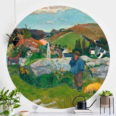 Runde Tapete selbstklebend - Paul Gauguin - Der Schweinehirt