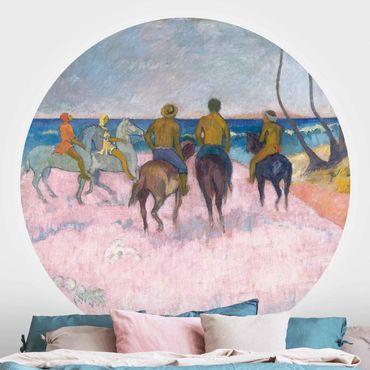 Runde Tapete selbstklebend - Paul Gauguin - Reiter am Strand