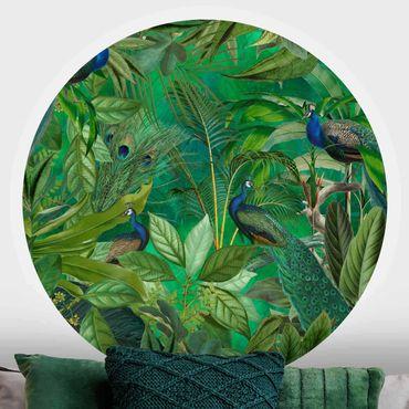Runde Tapete selbstklebend - Pfauen im Dschungel
