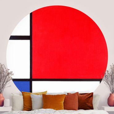 Runde Tapete selbstklebend - Piet Mondrian - Komposition Rot Blau Gelb
