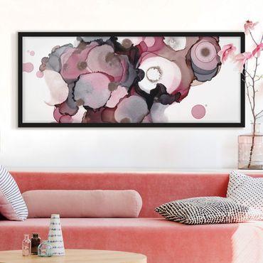 Bild mit Rahmen - Pink-Beige Tropfen mit Roségold - Panorama