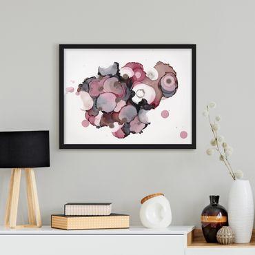 Bild mit Rahmen - Pink-Beige Tropfen mit Roségold - Querformat