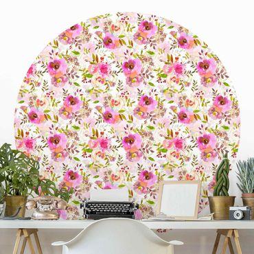 Runde Tapete selbstklebend - Pinke Aquarell Blumen