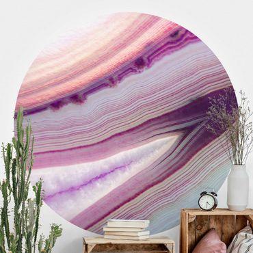 Runde Tapete selbstklebend - Pinker Kristall Planet