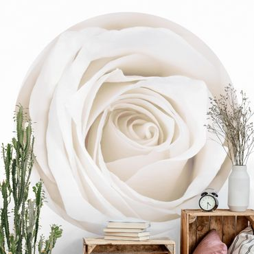 Runde Tapete selbstklebend - Pretty White Rose