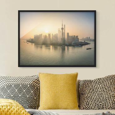 Bild mit Rahmen - Pudong bei Sonnenaufgang - Querformat