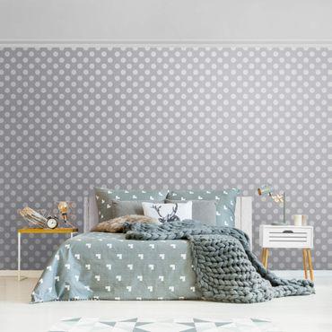 Metallic Tapete  - Punkte in Weiß auf Grau
