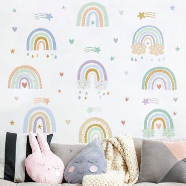 Wandtattoo mehrfarbig - Regenbögen Pastell Set