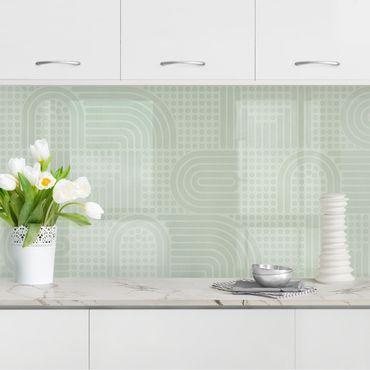 Küchenrückwand - Regenbogen Muster in Salbei