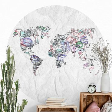 Runde Tapete selbstklebend - Reisepass Stempel Weltkarte
