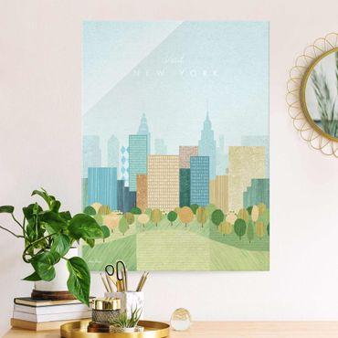 Glasbild - Reiseposter - New York Autumn - Hochformat