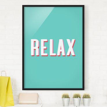 Bild mit Rahmen - Relax Typo auf Blau - Hochformat