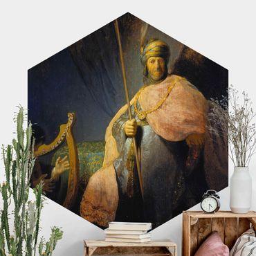 Hexagon Mustertapete selbstklebend - Rembrandt van Rijn - David spielt Harfe