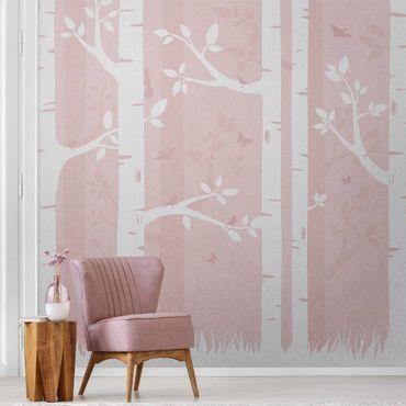 Metallic Tapete  - Rosa Birkenwald mit Schmetterlingen und Vögel