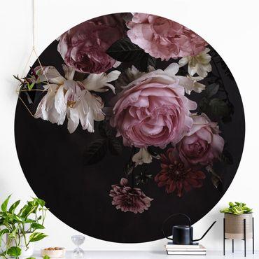 Runde Tapete selbstklebend - Rosa Blumen auf Schwarz Vintage