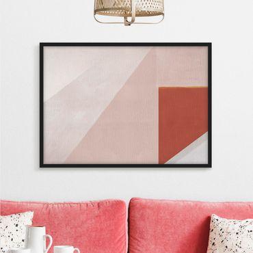 Bild mit Rahmen - Rosa Geometrie - Querformat