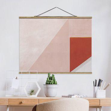 Stoffbild mit Posterleisten - Rosa Geometrie - Querformat 4:3