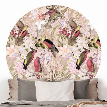 Runde Tapete selbstklebend - Rosa Pastell Vögel mit Blumen