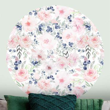 Runde Tapete selbstklebend - Rosa Rosen mit Blaubeeren vor Weiß