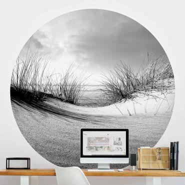 Runde Tapete selbstklebend - Sanddüne Schwarz-Weiß