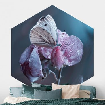 Hexagon Mustertapete selbstklebend - Schmetterling im Regen