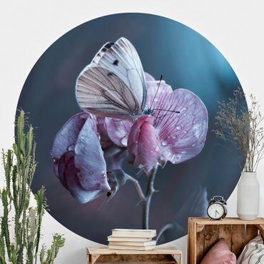 Runde Tapete selbstklebend - Schmetterling im Regen