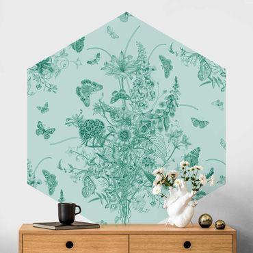 Hexagon Mustertapete selbstklebend - Schmetterlinge um Blumeninsel in Grün II