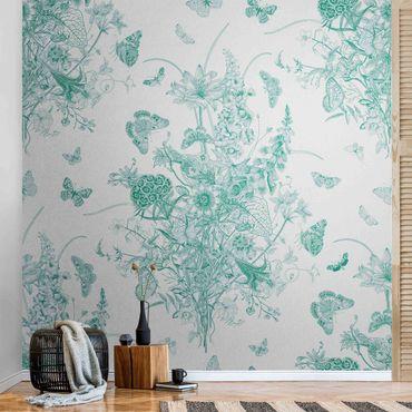 Metallic Tapete  - Schmetterlinge um Blumeninsel in Grün