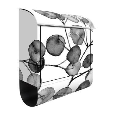 Briefkasten - Schwarz Weiß Aquarell Eukalyptuszweig
