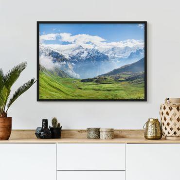 Bild mit Rahmen - Schweizer Alpenpanorama - Querformat