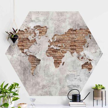 Hexagon Fototapete selbstklebend - Shabby Beton Backstein Weltkarte